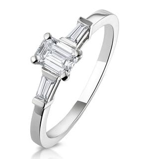 Genevieve GIA Emerald Cut Diamond Ring in 18K White Gold 0.70ct G/SI2