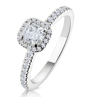 Beatrice GIA Diamond Halo Engagement Ring in Platinum 1ct G/SI2