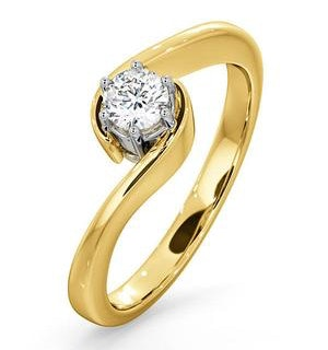 Certified Leah 18K Gold Diamond Engagement Ring 0.25CT