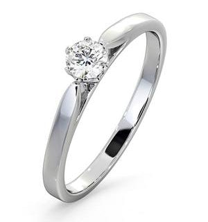 Engagement Ring Certified Low Set Chloe 18K White Gold Diamond 0.25CT