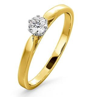 Certified Low Set Chloe 18K Gold Diamond Engagement Ring 0.25CT-G-H/SI