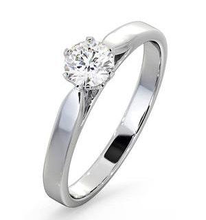 Certified 0.50CT Chloe Low 18K White Gold Engagement Ring E/VS2