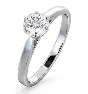 Certified 0.70CT Chloe Low 18K White Gold Engagement Ring E/VS2