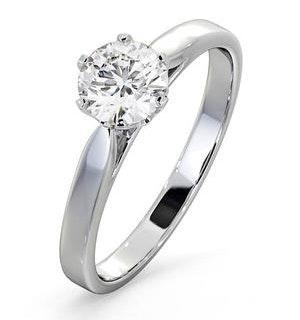 Certified 0.90CT Chloe Low 18K White Gold Engagement Ring E/VS2