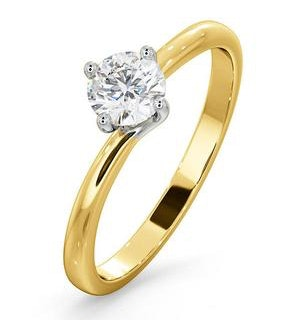 Certified 0.50CT Lily 18K Gold Engagement Ring E/VS1