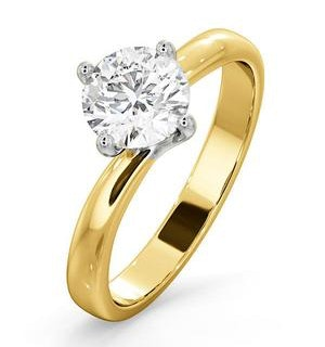 Certified 1.00CT Lily 18K Gold Engagement Ring E/VS1