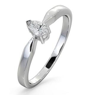 Engagement Ring Certified Pear Shaped Diamond 0.25CT H/SI 18K Gold