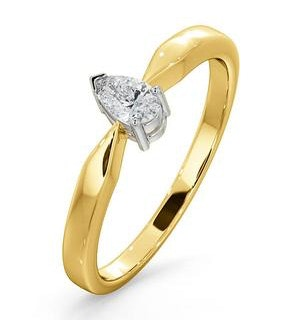 Certified Pear Shaped 18K Gold Diamond Engagement Ring 0.25CT-H/Si