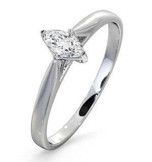Engagement Ring Certified Marquise Diamond 0.25CT H/SI 18K White Gold