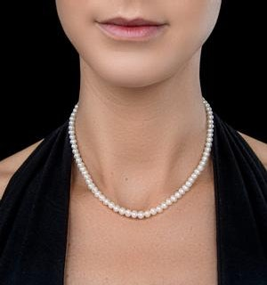 5mm Pearl Amelie Collection 16 Inch Necklace with 925 Silver Clasp