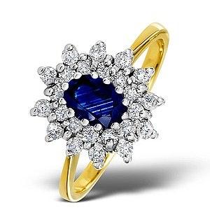 Sapphire 6 x 4mm And Diamond 18K Gold Ring  FET34-U