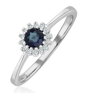 Sapphire 3 x 3mm And Diamond 18K White Gold Ring