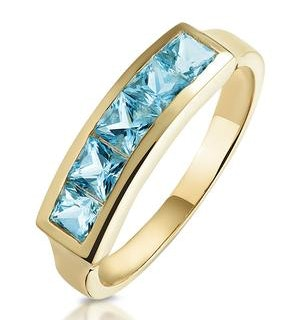 Sky Blue Topaz 0.90CT 9K Gold Ring