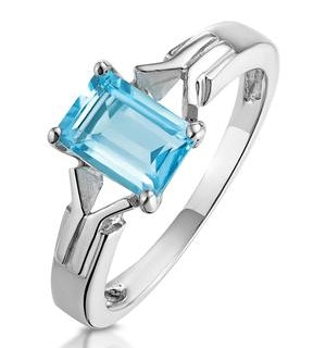 Sky Blue Topaz 1.25CT 9K White Gold Ring