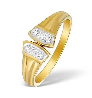9K Gold Diamond Pave Design Ring - A3878