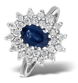 Sapphire 7 x 5mm And Diamond 9K White Gold Ring  A4420