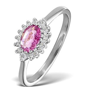 18K White Gold Diamond and Pink Sapphire Ring 0.14ct