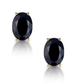 Sapphire 7mm x 5mm 9K Yellow Gold Earrings