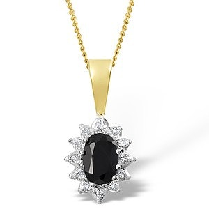 Sapphire 6 x 4mm And Diamond 9K Yellow Gold Pendant Necklace