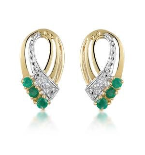 Emerald 8 x 15mm And Diamond 9K Yellow Gold Earrings