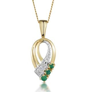 Emerald 2.25mm And Diamond 9K Yellow Gold Pendant