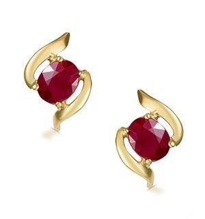 Ruby 0.73CT 9K Yellow Gold Earrings  B3275