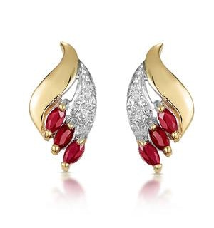 Ruby 4 x 2mm And Diamond 9K Yellow Gold Earrings