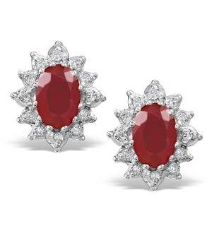 Ruby 6 x 4mm And Diamond Cluster 9K Yellow Gold Earrings