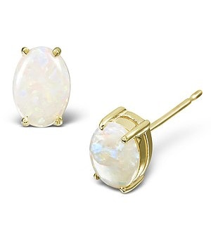 Opal 7 x 5mm 18K Yellow Gold Earrings