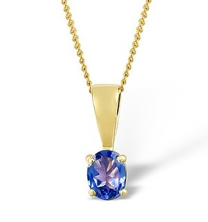Tanzanite 5 x 4mm 9K Yellow Gold Pendant