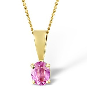 Pink Sapphire 5 X 4mm 9K Yellow Gold Pendant Necklace
