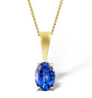 Tanzanite 7 x 5mm 9K Yellow Gold Pendant Necklace