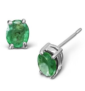 Emerald 5 x 4mm 9K White Gold Earrings