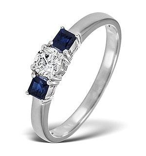 Diamond 0.33ct And Sapphire 18K White Gold Ring
