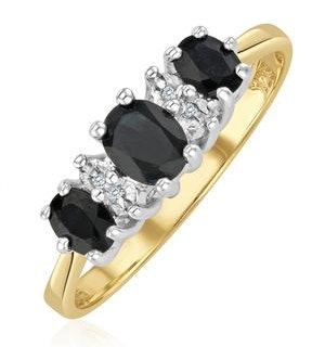 Sapphire 1.00ct And Diamond 9K Gold Ring - Size F