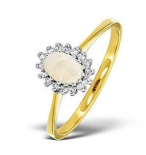 Opal 6 x 4mm And Diamond 9K Yellow Gold Ring