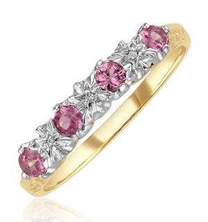 0.40ct Pink Sapphire and Diamond Ring 9K Yellow Gold