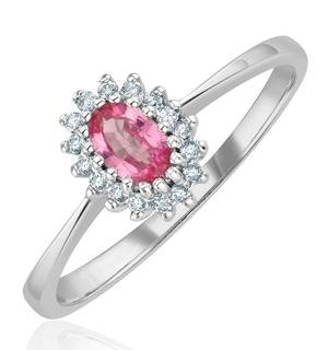 9K White Gold Diamond Pink Sapphire Ring 0.05ct