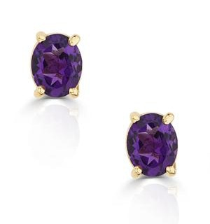 Amethyst 5 x 4mm 9K Yellow Gold Earrings