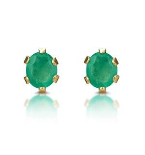 Emerald 3 x 3mm 9K Yellow Gold Earrings