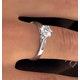 Certified 0.90CT Chloe Low Platinum Engagement Ring E/VS2 - image 4