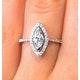 Halo Engagement Ring Ella 0.84ct H/Si Marquise Diamond 18K White Gold - image 3