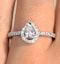 Halo Engagement Ring Ella 0.81ct Pear Shape Diamond 18K White Gold - image 4