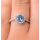 Halo Aquamarine 0.50CT And Diamond 18K White Gold Ring - image 4