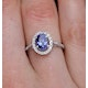 Tanzanite 7 x 5mm And 0.30ct Diamond 18K White Gold Ring - image 3