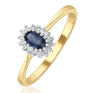 Sapphire 5 x 3mm And Diamond 9K Gold Ring  A3225