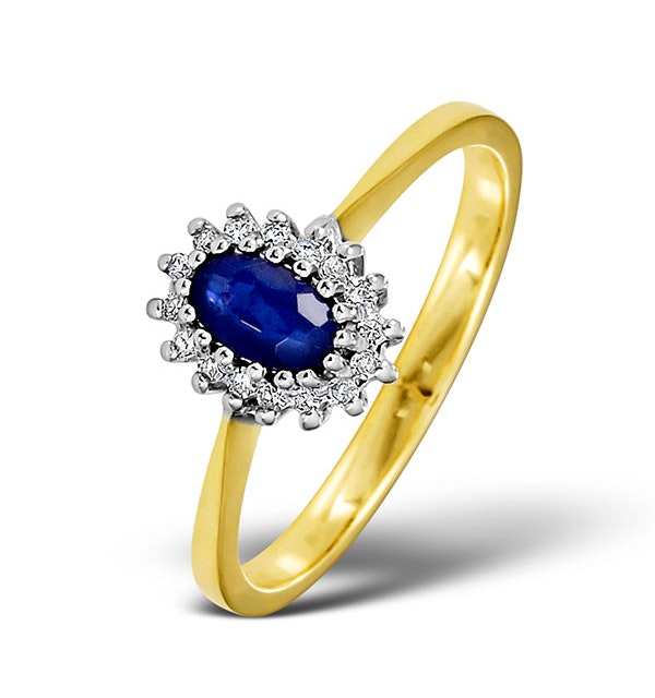 Sapphire 5 x 3mm And Diamond 9K Gold Ring  A3225 - image 1