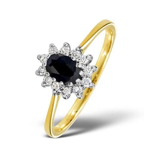 Sapphire 6 x 4mm And Diamond 18K Gold Ring  FET33-U - image 1