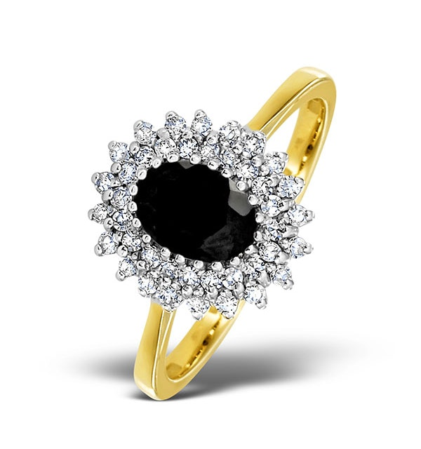 Sapphire 7 x 5mm And Diamond 9K Gold Ring - image 1