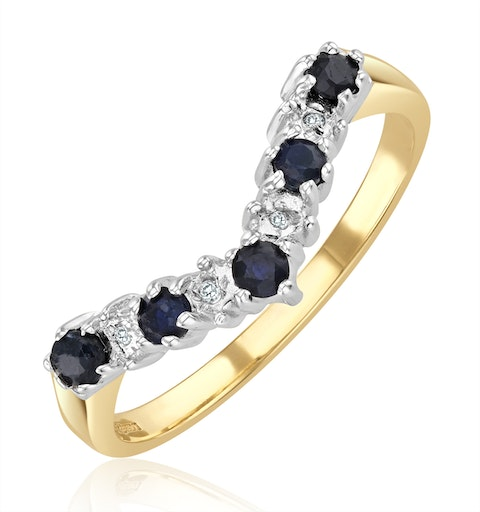 Sapphire 0.25ct And Diamond 9K Gold Ring - image 1